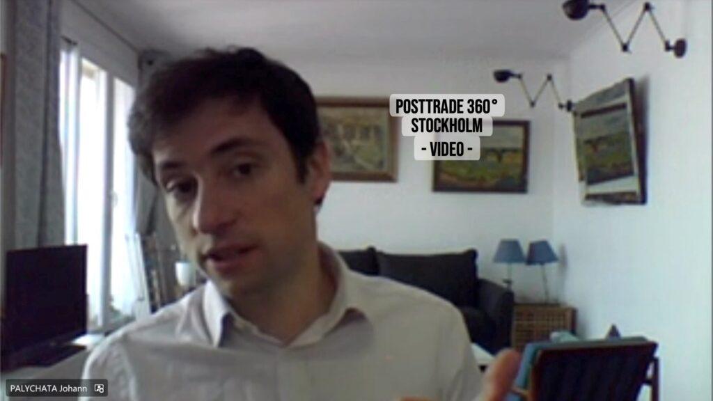 Johann Palychata, speaking on decentralised finance (DeFi) in the PostTrade 360° Stockholm 2021 conference.