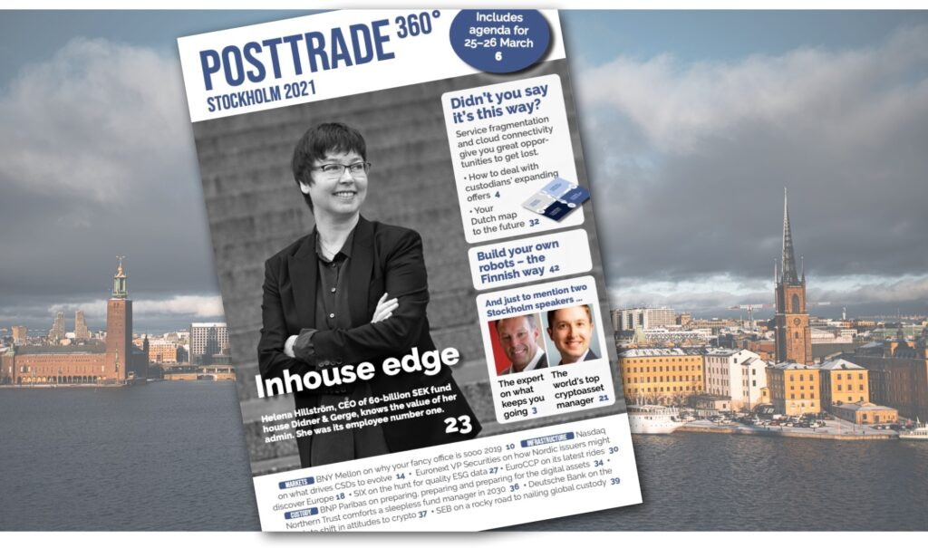 PostTrade 360° Stockholm 2021 Magazine cover, against background of Stockholm panorama.