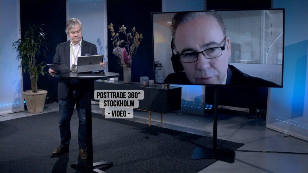 Moderator Göran Fors, with speaker Christophe Beelaerts of BNP Paribas, at PostTrade 360° Stockholm 2021.