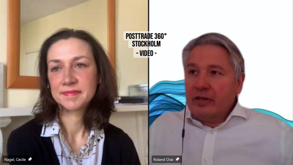 EuroCCP's Cécile Nagel and Nasdaq's Roland Chai, with PostTrade 360° Stockholm 2021.