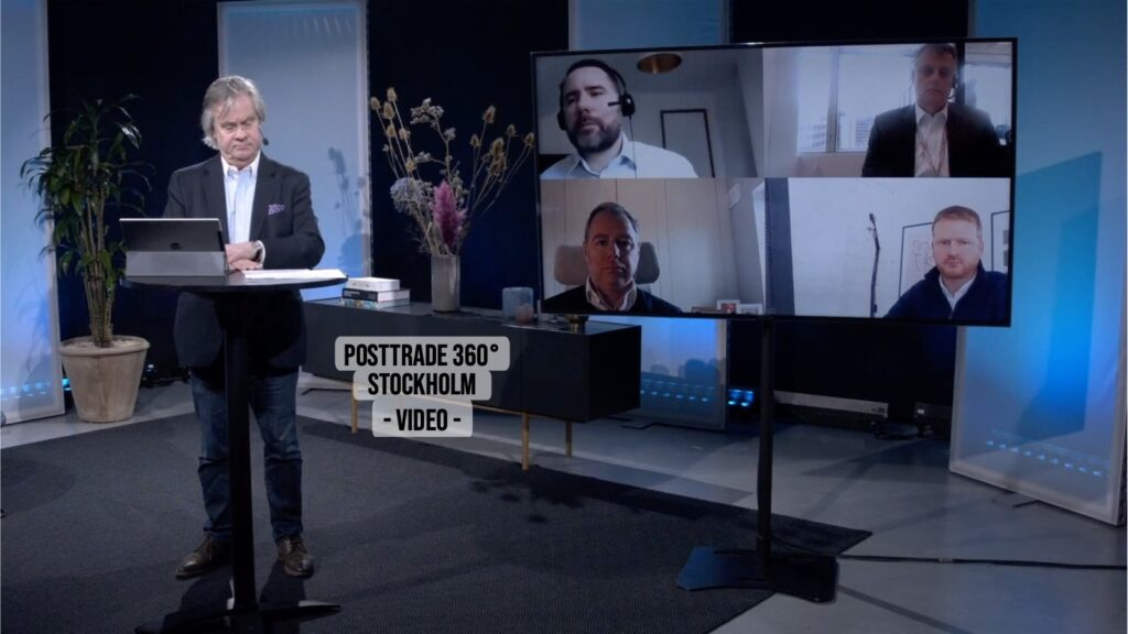 PostTrade 360° Stockholm collateral panel, with event moderator Göran Fors in the studio.