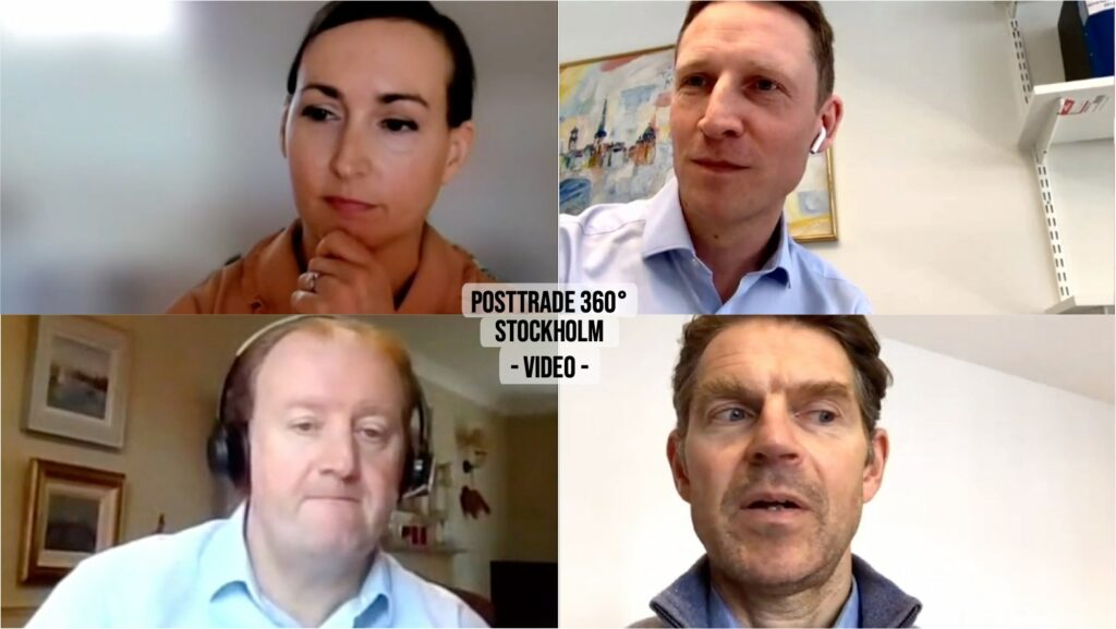 Panelists on Nordic OTC clearing, at PostTrade 360° Stockholm 2021.